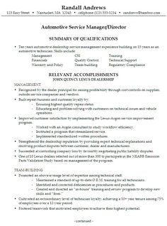 Sample Resume For Someone Seeking A Job As An Automotive Service