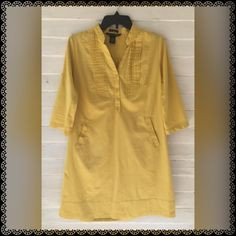 new listingLight Mustard dress Cute just in time for fall pairs well with legging and boots! Size Medium. 3/4 sleeve or you can button it up.OBO for reduced shipping Dresses Midi