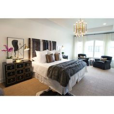 bedrooms - Jonathan Adler Meurice Chandelier brown blue silver gray mohair headboard faux python snake pillows gray fur throw Dorothy Draper chests nightstands antique brass pharmacy lamps cowhide rug layered sisal rug found on Polyvore