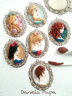 Princesses side profile clay charms