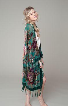 Silk velvet embellished kimono with English roses.