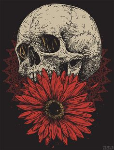 Skull and Flower Heavy Metal Art, Satanic Art, Arte Sketchbook, Skeleton Art, Skull Wallpaper, Matou, Flower Skull, T Shirt Designs, Arte Horror
