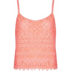 TOPSHOP Crochet Cami ($64) ❤ liked on Polyvore featuring tops, tank tops, shirts, tanks, topshop, coral, strappy tank top, crochet tank top, red tank top and floral tank