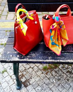Beautiful Irida scarves on bags - perfect summer style!