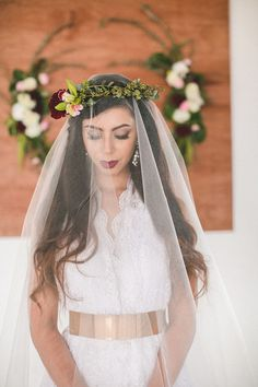 Loving the floral crown and gold belt