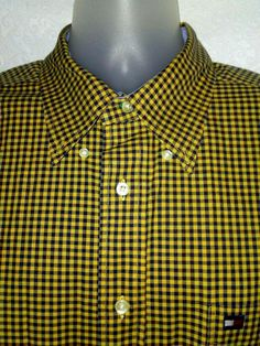 aa8e331f TOMMY HILFIGER Mens Dress Shirt Yellow Black Plaid Long Sleeve Button Down  XL #TommyHilfiger #