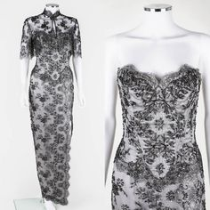 VICKY TIEL COUTURE c.1990s 2pc Silver Beaded Lace Corset Evening Gown Jacket Set
