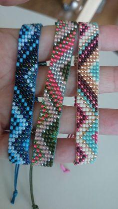 Loom beaded bracelet by Suusjabeads on Etsy Loom Bracelet Patterns, Bead Loom Bracelets, Bead Loom Patterns, Beading Patterns, Beading Ideas, Beading Supplies, Seed Bead Jewelry, Beaded Jewelry, Jewellery