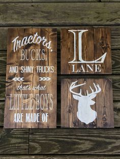 Tractors, Bucks, and Shiny Trucks Thats What Little Boys Are Made Of - Rustic Wood Nursery Sign- Deer/Boy/Rustic/Deer/Country/Custom/Outdoor by BarnDoorBoutiqueShop on Etsy https://www.etsy.com/listing/387005810/tractors-bucks-and-shiny-trucks-thats Rustic Nursery Boy, Baby Deer Nursery, Outdoor Nursery, Rustic Baby Nurseries, Wood Nursery, Nursery Signs, Baby Boy Nurseries, Nursery Decor, Bedroom Decor