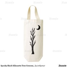 Spooky Black Silhouette Tree Crescent Moon Stars Zazzle HEART Wine Bag