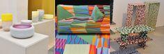 Milan2014 - Glas en keramiek van Roos Gomperts bij Dutch Invertuals, Guadeloupe bank van Bethan Laura Wood voor Kvadrat en handbeschilderde ...