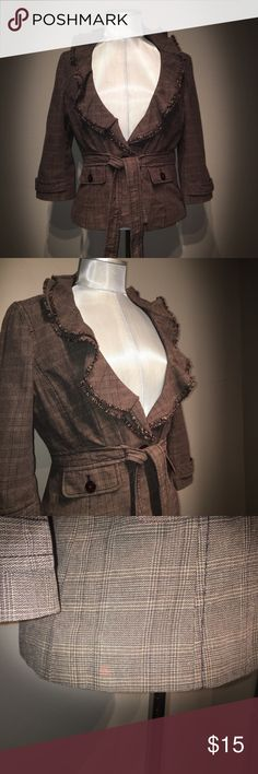 """ Anne Taylor LOFT petites  brown ruffled coat! 😍 ADORABLE brown plaid coat!! Perfect for any outing or work environment!    🎀FABRIC: 100% Cotton  🎀PIT2PIT: 18"""" 🎀LENGTH: 20.5"""" LOFT Jackets & Coats Pea Coats"""