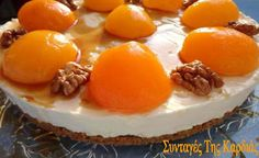 Cheesecake with apricots and white chocolate White Chocolate, Waffles, Cheesecake, Pudding, Breakfast, Desserts, Recipes, Food, Morning Coffee
