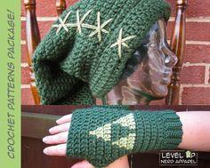Legend of Zelda Crochet Pattern Super Package! Link hat and Triforce mitts…