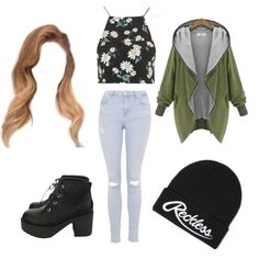 tumblr girl by popalah on Polyvore featuring polyvore fashion style Topshop Queen's World Young & Reckless
