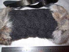 Muffs - handknitted Muff with Rabbit Fur-100% Merino Wool made by pielibiza/ Le Strick - DaWanda