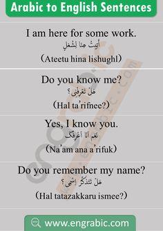 Arabic Sentences, Arabic Phrases, English Sentences, English Vocabulary Words, English Phrases, English Learning Books, English Writing Skills, English Language Learning, Arabic To English Translation