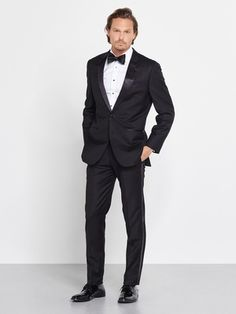 "This is it—the perfect tux you've been searching for. Pair it with a classic black bowtie or go rogue with something unique. You really can't go wrong.   Our tuxedo pants have waist adjusters up to 2"", but do not have belt loops or suspender buttons."
