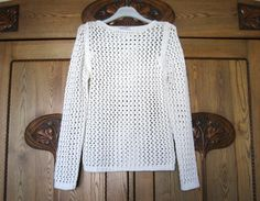 White Knitted Sweater Lace Pullover Knit Tunic Cardigan Vintage Elegant Romantic