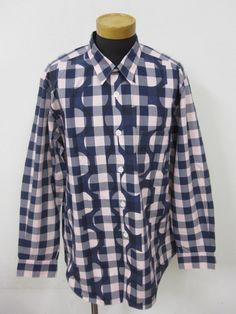 COMME des GARCONS HOMME コムデギャルソンオム チェック × ドット デザインシャツ 長袖シャツ 紺 × 灰 × ピンク サイズ 不明 150427 中古 古着 通販