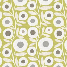 Chartreuse Graphic Flower Print Fabric - Modern - Upholstery Fabric - Loom Decor $14