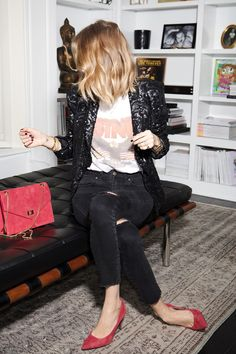 ANINE BING SEQUIN JACKET DENIM KENDINGTON BAG SUEDE PUMPS