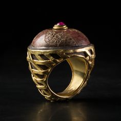 BURNISH IVORY BYZANTINE FUSAIOLA RING  ºº