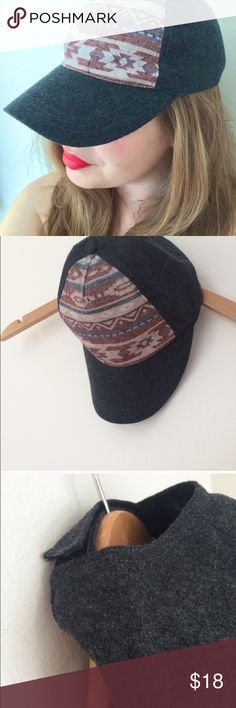 Aztec Baseball Hat Aztec Baseball hat, new with tags! Super cute and on trend. Has a Velcro adjustable closure and is grey. Capelli of New York Accessories Hats