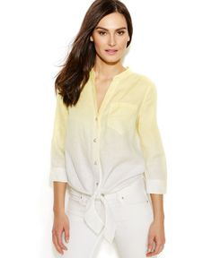 INC International Concepts Ombre Tie-Front Linen Blouse