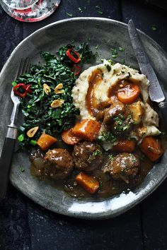 Beef meatball and Guinness stew: a simple, hearty stew best served with garlic and chilli cavolo nero (http://bit.ly/1VZNpZR) and creamy mash potato – perfect for a grown-up Halloween feast.