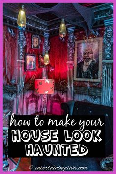 These Halloween decorating ideas are awesome! Click through to find all kinds of ways to create a DIY haunted house. #entertainingdiva #halloween #hauntedhouse #halloweenindoordecor #holidaysandevents