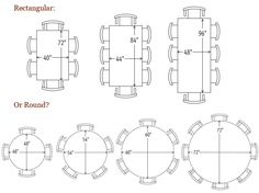 Rectangular (and oval) dining table sizes. | Dining Room Size and ...