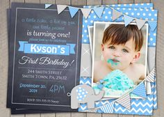 Elephant Boys Blue Grey 1st Birthday by InvitationsByLittleP