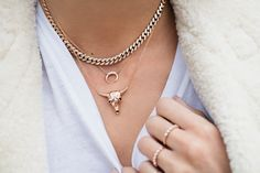 14kt gold and diamond chain link choker – Luna Skye by Samantha Conn
