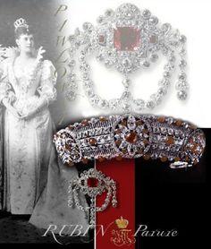 Grand Duchess Maria Pavlovna Romanova of Russia (the Elder)'s Ruby Parure. Royal Tiaras, Tiaras And Crowns, Royal Jewelry, High Jewelry, Diamond Tiara, Circlet, Fantasy Jewelry, Crown Jewels, Belle Epoque