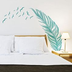 MLM Flying Feather Wall Stickers Home Decor Decals Home Decoration Wallpaper DIY Art (Blue) -- You can get more details by clicking on the image. (This is an affiliate link and I receive a commission for the sales) Bird Wall Decals, Wall Decals For Bedroom, Bedroom Decor, Decals For Walls, Wall Painting For Bedroom, Bedroom Stickers, Decorating Bedrooms, Wall Vinyl, 3d Wall