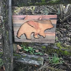 Rustic Grizzly Bear Wood Silhouette Cut Out Wall Art by Bayocean Rustic Design