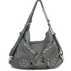 Grey Designer Inspired Studded Hobo Purse