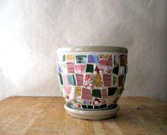 Mosaic Garden Pot, Upcycled Stoneware Planter, Vintage Broken China Mosaic Pique Assiette, Pink Green