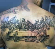 40 Last Supper Tattoo Designs For Men - Christian Ink Ideas - Male Last Supper Biblical Tattoo Ideas On Back - Make Tattoo, S Tattoo, Biblical Tattoos, Candle Tattoo, Daffodil Tattoo, Glyph Tattoo, Religion, Samurai Tattoo, Last Supper