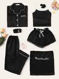 To find out about the Letter Embroidered Cami PJ Set With Shirt at SHEIN, part of our latest Night Sets ready to shop online today! Satin Pyjama Set, Satin Pajamas, Pajama Set, Pyjamas, Cute Pjs, Cute Pajamas, Black Pajamas, Pajama Outfits, Cute Outfits