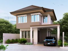 Two story house plan PHP-2014005 is best suited for 10 meter lot frontage and 13 meters in depth. The ground floor consist of the garage, porch, living area, dining, kitchen, maid's room and a bathroom.