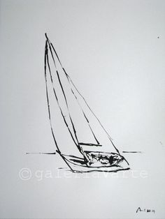 Original ink drawing - sailboat - europeanstreetteam