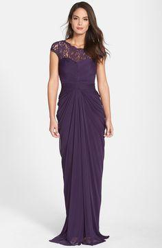 Lace Yoke Drape Gown (Regular & Petite)