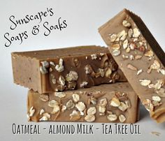 Oatmeal Almond Milk and Tea Tree Oil  by SunscapesSoapsnSoaks on Etsy $4.25 A combination of Colloidal Oatmeal, Almond Milk & Tea Tree essential oil with a light vanilla sugar scent .