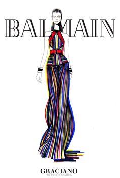 #BALMAIN SPRING 2015 #PFW by #GRACIANOfashionillustration