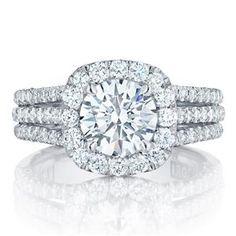 Shop online TACORI HT2551CU75 Halo 18K - White Gold Diamond Engagement Ring at Arthur's Jewelers. Free Shipping