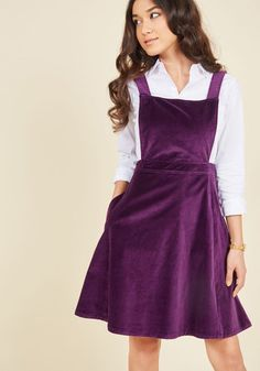 You look delicious while tasting tiny confections in this velvet jumper from our ModCloth namesake label! Your favorite flavor? Blackberry, which recalls the rich amethyst color of this pocketed piece, whose clean lines and adjustable straps keep you stylish while picking out the perfect dessert.
