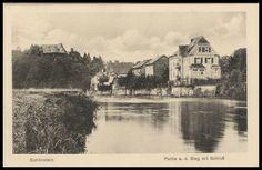Schönstein - Häuserreihe an der Sieg von hinten - AK von 1931