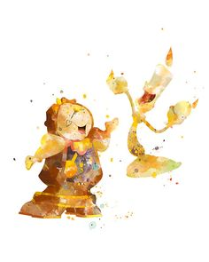 Beauty and the Beast Cogsworth and Lumiere Print Watercolor #BeautyandtheBeast #Cogsworth #Lumiere #Print #Watercolor #Art #Disney #Poster #Nursery #HomeDecor #Gift